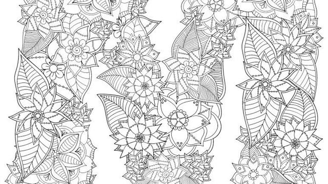 Alphabet flowers difficult coloring pages