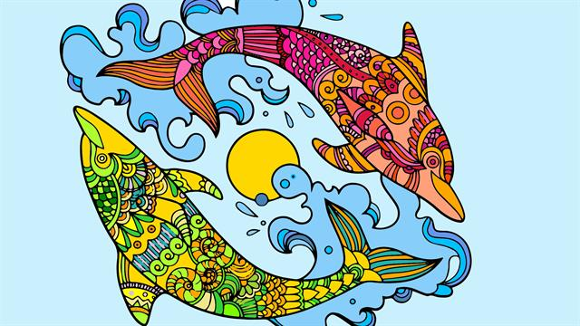 Dolphins difficult coloring pages