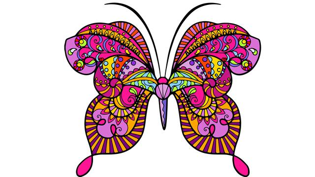 Butterflies difficult coloring pages
