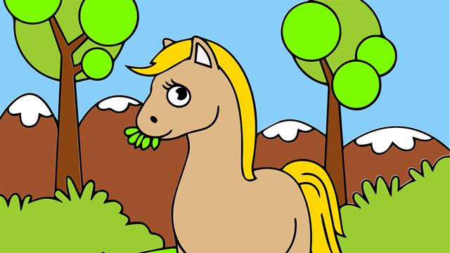 Horses kids coloring pages