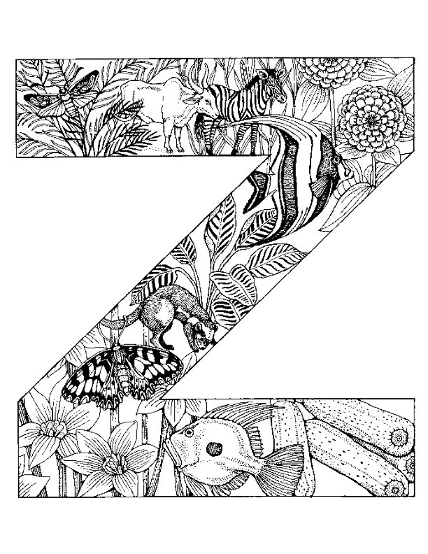 English Alphabet with Animals coloring pages | Free Coloring Pages | 792x612