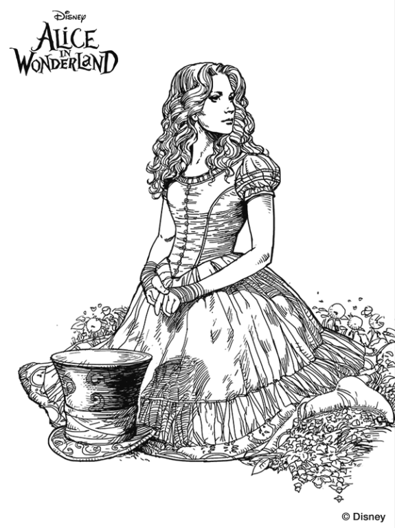 and more of these coloring pages coloring pages of alice in wonderland alice in wonderland tim burton - Alice Wonderland Coloring Page