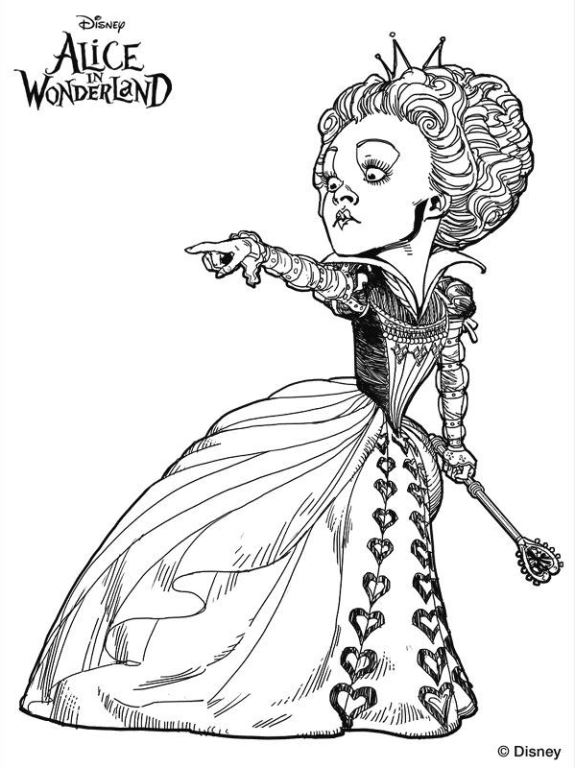 Queen Of Hearts Disney Coloring Pages