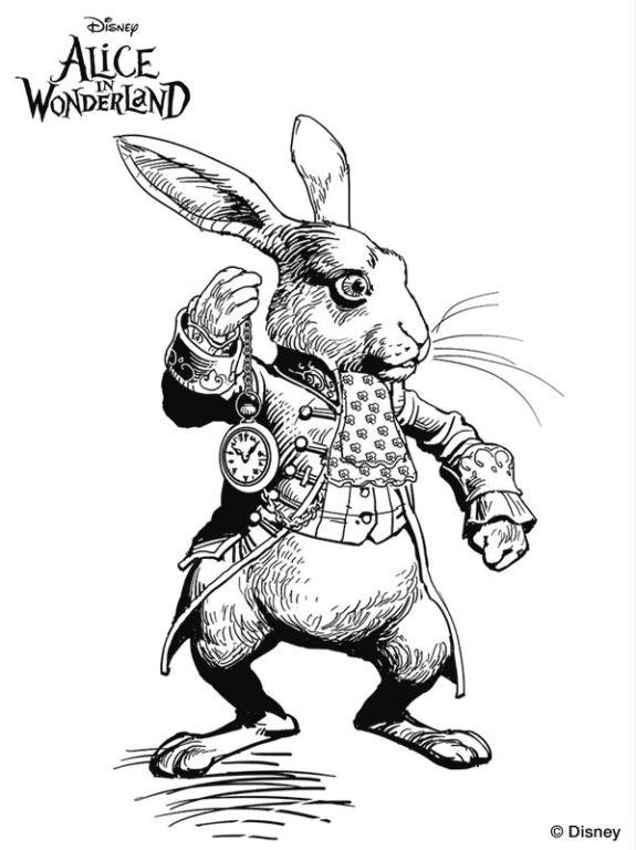 kids n coloring page alice in wonderland tim burton white rabbit