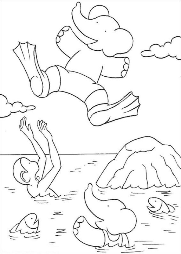 kids-n-fun | 15 coloring pages of babar the elephant