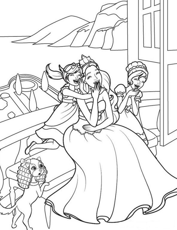 Kids N Fun Com 3 Coloring Pages Of Barbie The Princess