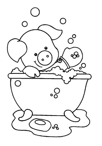 Bath Time! Color the Elephant Bubble Bath | Worksheet | Education.com | 510x357