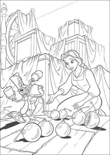 Beauty And The Beast Coloring Pages For Kids - Beauty And The ... | 500x357