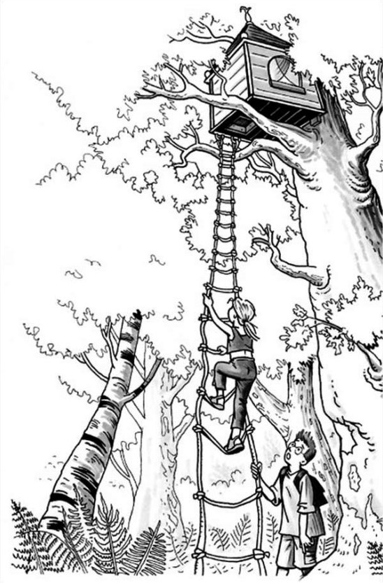 Kids-n-fun.com | Coloring page Treehouse Boomhutten