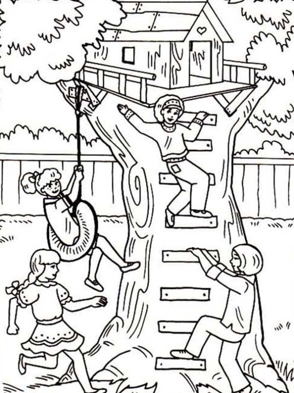 Tree House Coloring Pages
