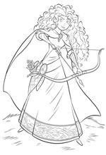 coloring page Merida with bow and arrow