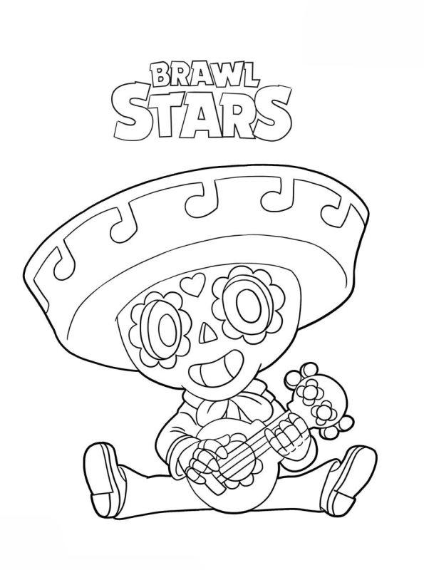 kidsnfun  coloring page brawl stars poco brawl stars