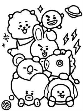 Kids N Fun Com 17 Coloring Pages Of Bt21