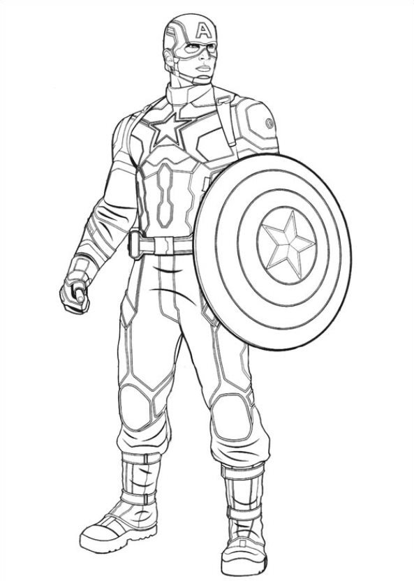 Kidsnfun 16 coloring pages of Captain America
