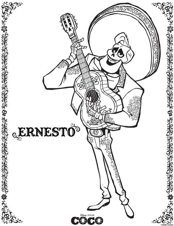 Kids N Fun Co Uk Coloring Page Coco Disney Coco Ernesto