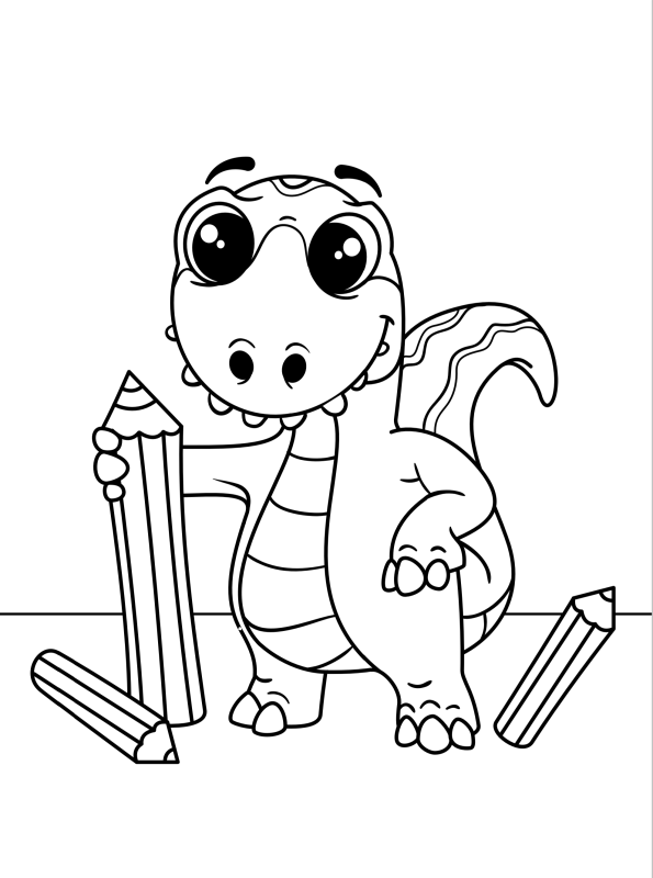 - Kids-n-fun.com Coloring Page Dino Kids Dino And Colored Pencils