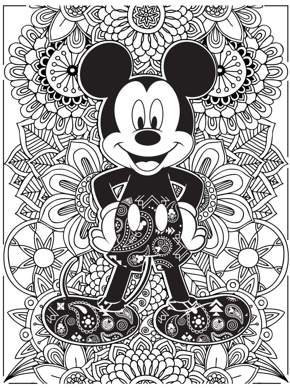 Kids N Fun Com Coloring Page Disney Difficult Mickey Mouse