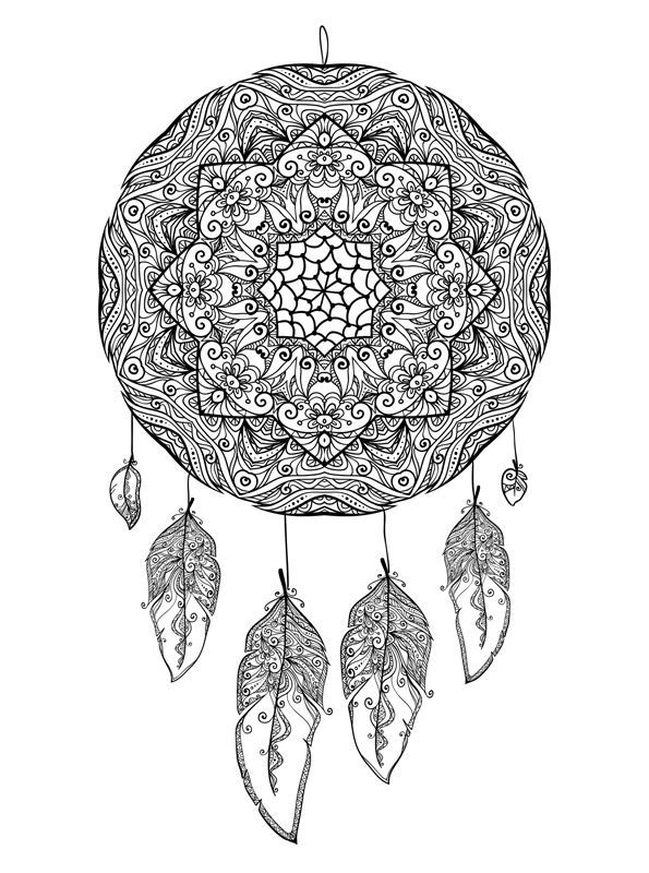 and more of these coloring pages coloring pages of abstract for adults flowers for adults handmade for adults and teens mandala mandala animal - Dream Catcher Coloring Pages