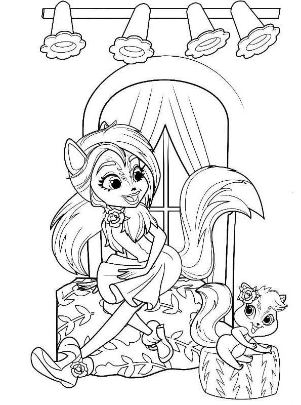 kidsnfun  coloring page enchantimals sage skunk caper
