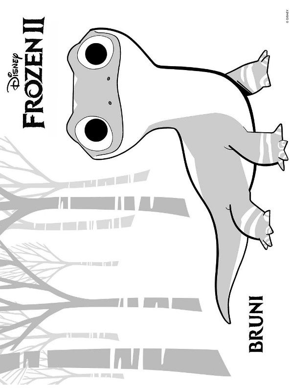 kidsnfun  coloring page frozen 2 bruni salamander