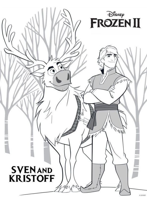 Kids N Fun Com Coloring Page Frozen 2 Sven Kristoff