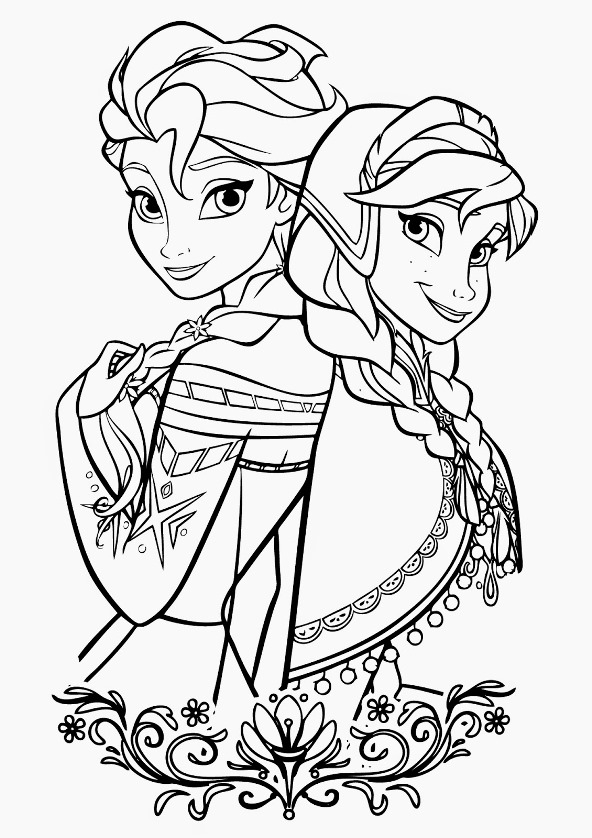 Kids n fun.co.uk | 17 coloring pages of Frozen Anna and Elsa