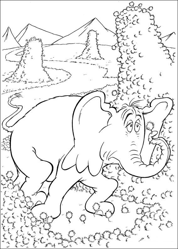 kids n funcom 65 coloring pages of horton dr seuss - Dr Seuss Coloring Pages Printable