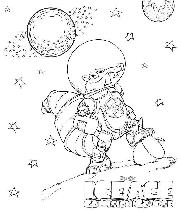 Kids N Fun Com Coloring Page Ice Age Collision Course Scrat In Space