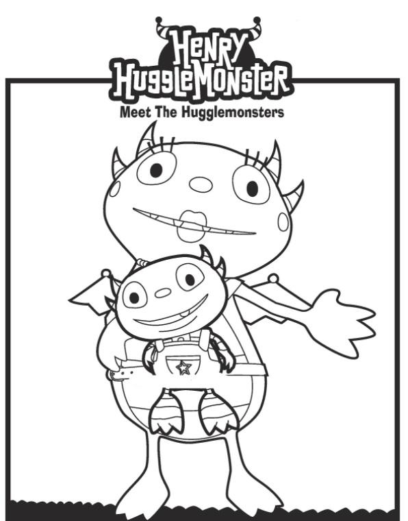 Kids N Funcom Coloring Page Henry Hugglemonster Mama Kenny
