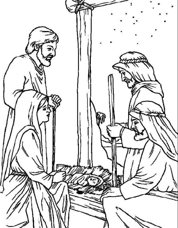 Kids n 31 coloring pages of bible christmas story for Christmas bible coloring pages