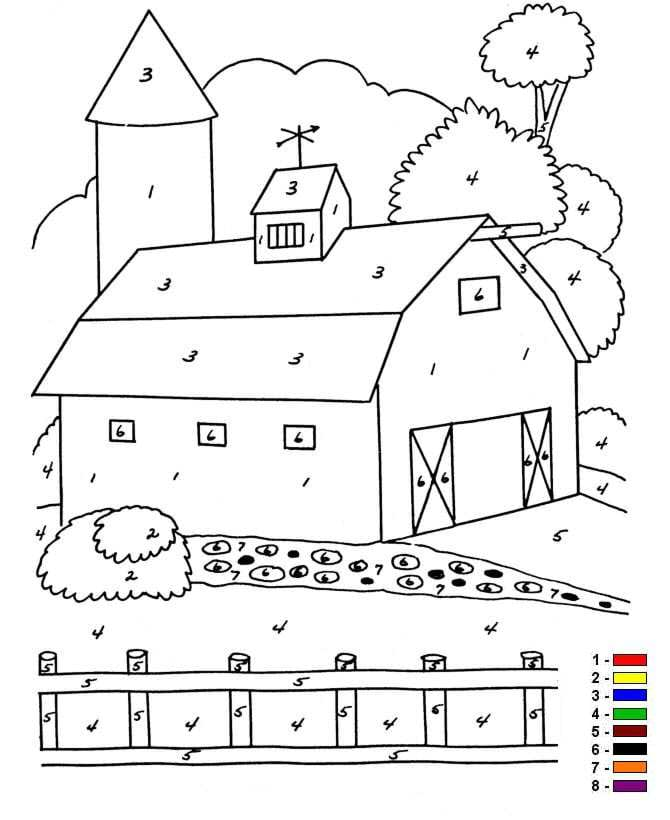 Kids N Fun Com 12 Coloring Pages Of Color By Number Farm Color Coloring