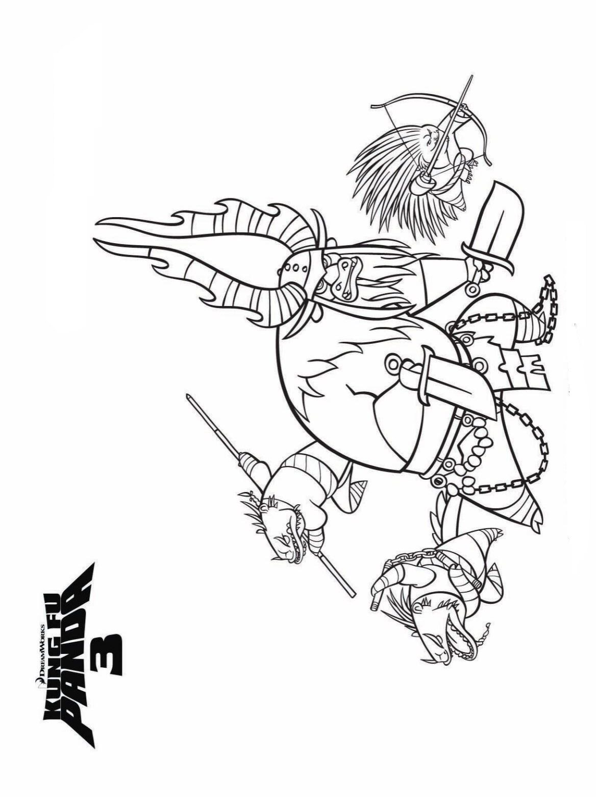 n 7 coloring pages of kung fu panda 3