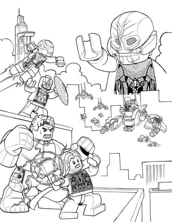 Kids n funcom 15 coloring pages of Lego Marvel Avengers