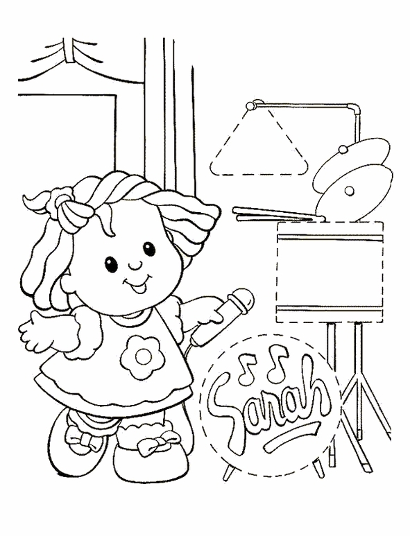 Kids n coloring page little people little people for Kids n fun coloring pages