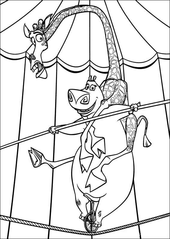 madagascar 3 circus coloring pages - photo#7