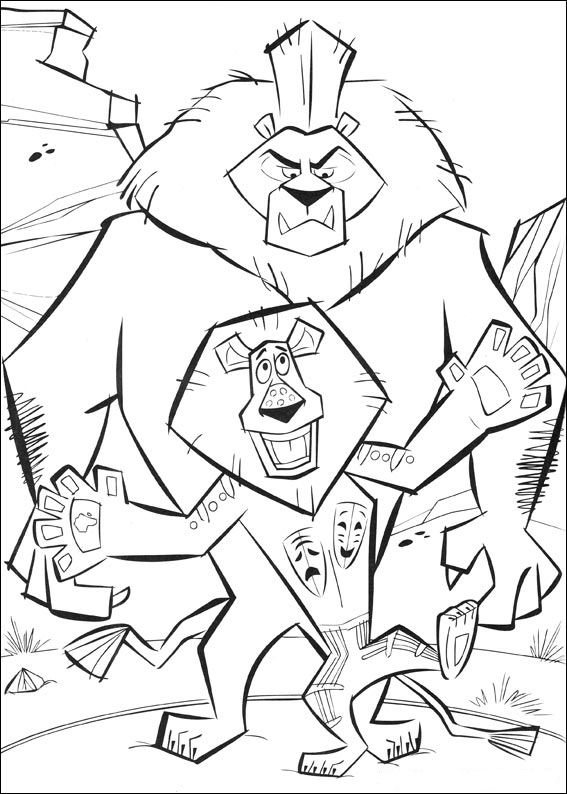 Kidsnfuncom 45 coloring pages of Madagascar 2 Escape 2 Africa