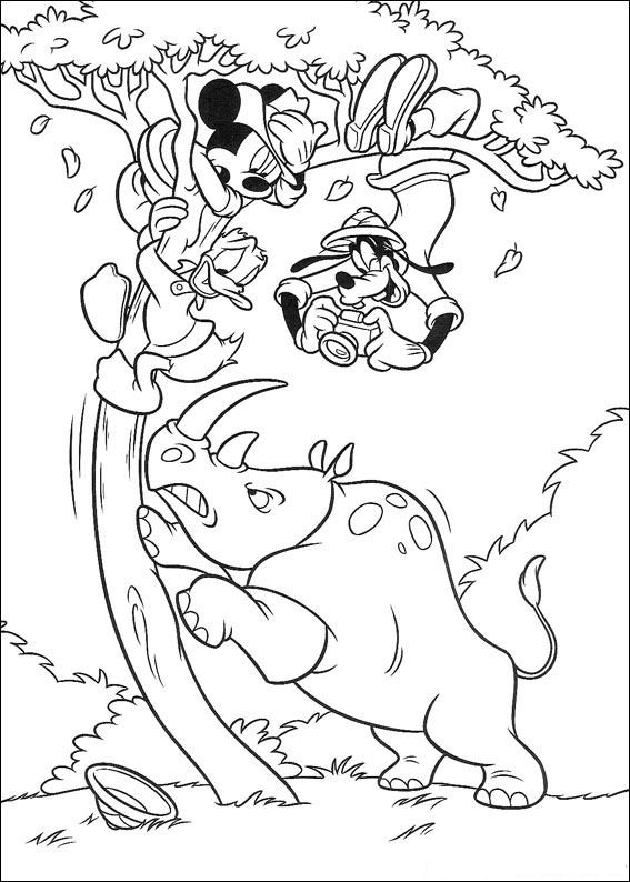 Kids-n-fun.com | 23 coloring pages of Mickey on safari