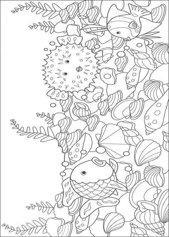12 rainbow fish coloring pages