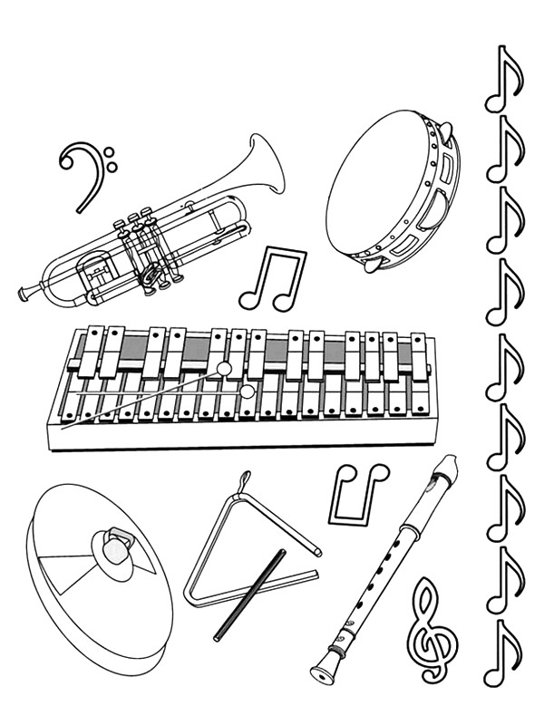 62 musical instruments coloring pages