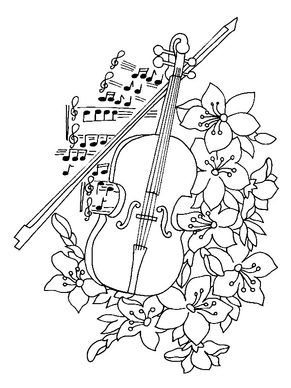 free music instrument coloring pages - photo#3
