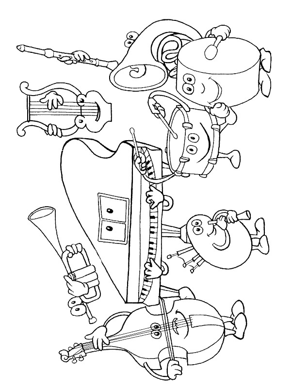 free music instrument coloring pages - photo#1