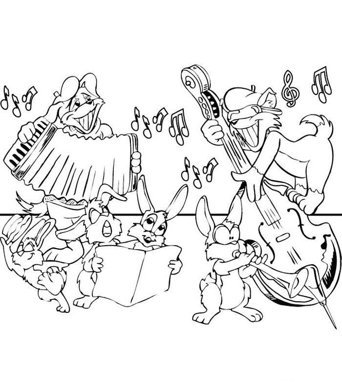 Разукрашка с музыкальными инструментами