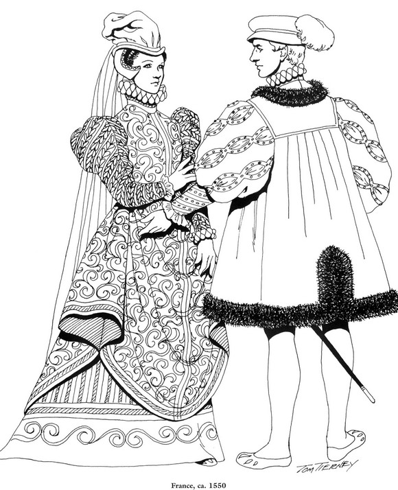 Coloring Pages Clothing: Coloring Page Clothing Of The Renaissance