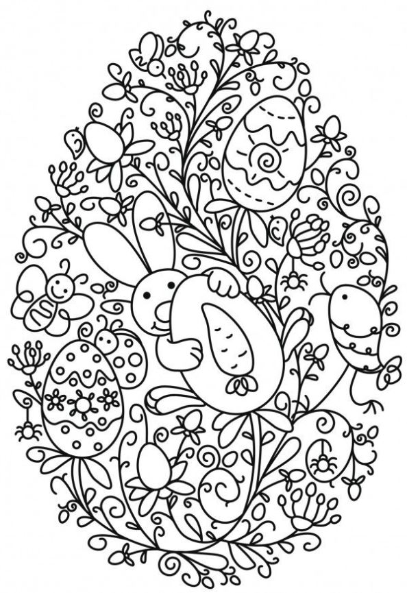 12 Coloring Pages Easter Eggs