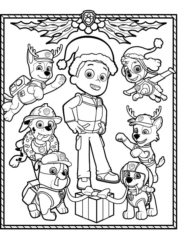 Kids N Fun Com Coloring Page Paw Patrol Christmas Paw Patrol Christmas