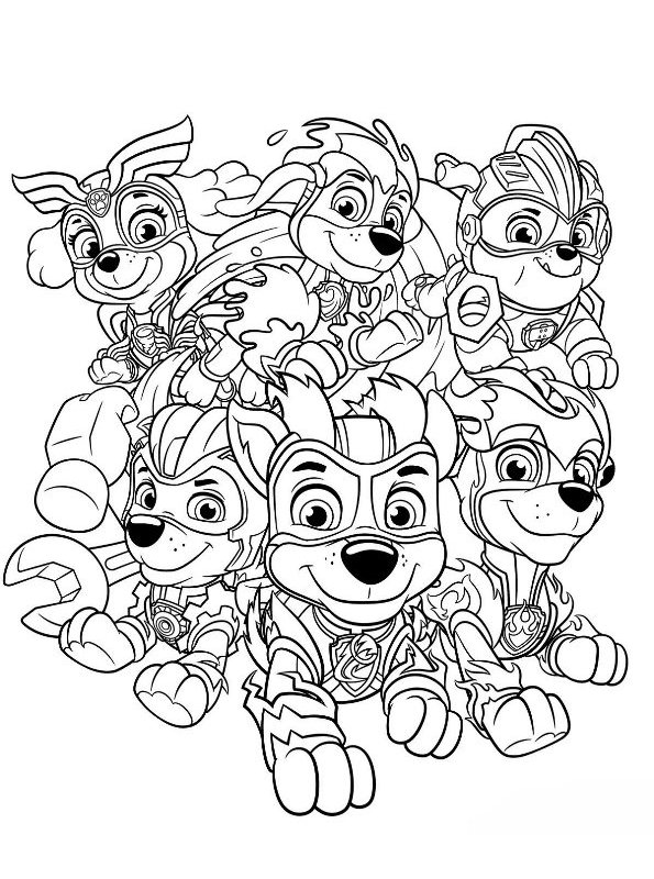 Kids-n-fun.com Coloring Page Paw Patrol Mighty Pups Charged Up