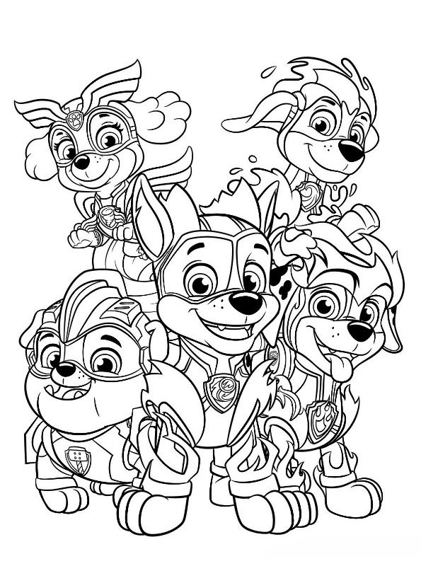 n coloring page paw patrol mighty pups paw