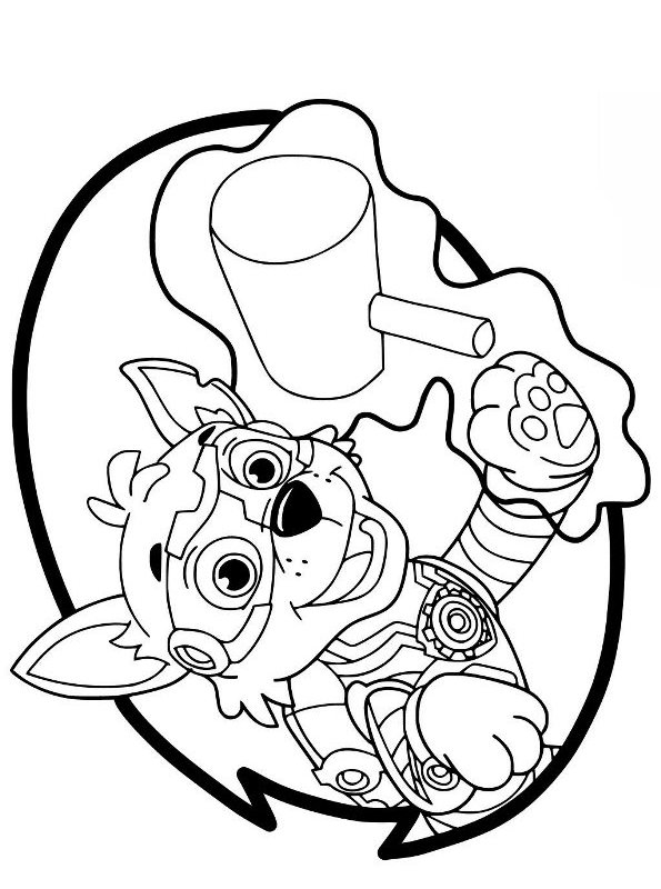Coloring Page Paw Patrol Mighty Pups Rocky