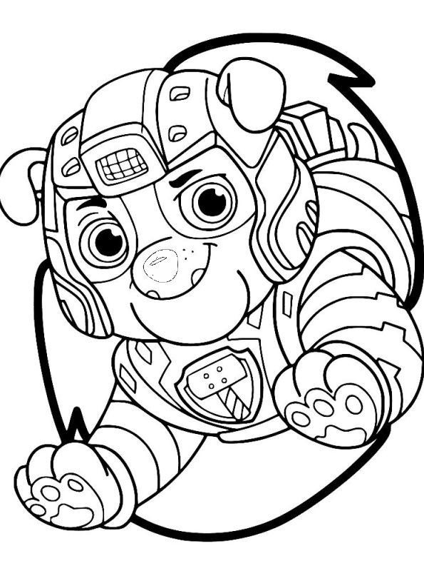 Kids N Fun Com Coloring Page Paw Patrol Mighty Pups Rubble