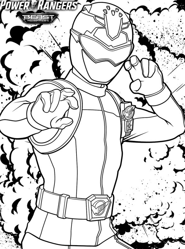 - Kids-n-fun.com Coloring Page Power Rangers Beast Morphers Beast Morphers Red  Ranger Devon